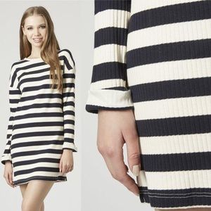 TopShop Striped Ribbed Tunic Dress Sz 10 NWT